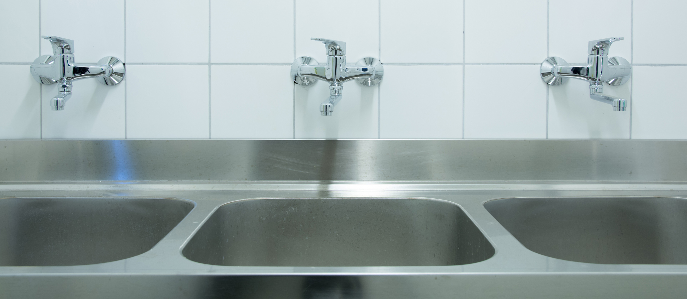 Commercial kitchen sinks.