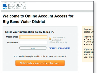 Screenshot of the Big Bend Water District bill payment log-in screen.