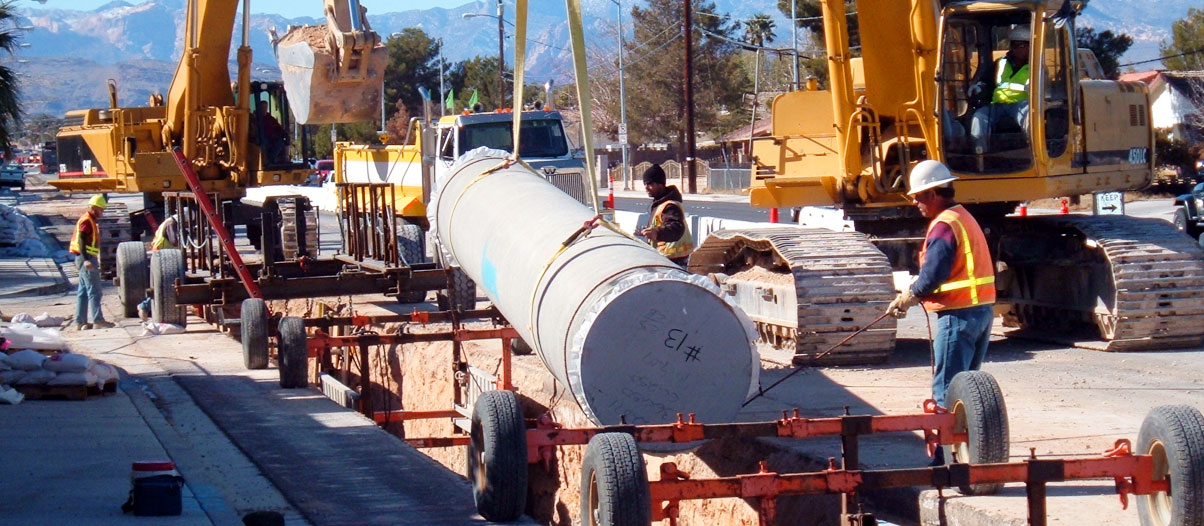 Las Vegas Valley Water District employees working on pipeline.
