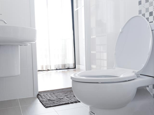 Toilet in clean bathroom
